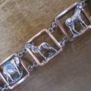 Copper Cuff Bracelet SAFARI Animals Figural Panels